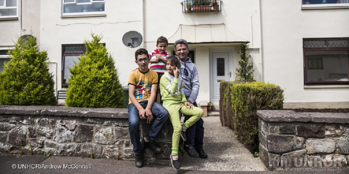 "Mohammad Murad (left), 12, pictured with his sister Aisha, 10, brother Oweis, 4, and father Mohammed, 38, at their new home in Edinburgh. He is originally from Hasaka in Syria, but was living in Damascus with his family when the war began in 2011. His family fled in March 2013 to Domis Camp in northern Iraq where they stayed for three years before eventually being resettled in Scotland in April 2016.  ""I miss Damascus, but I look forward to school. I want to be a doctor. I want to help people,"" says Mohammad. ; The prestigious 400-year-old George Heriot's School in Edinburgh has given three bursaries to Syrian refugee schoolchildren who have arrived in Britain as part of the UK Government's Vulnerable Persons Relocation Scheme. Mohammad is one of the recipients. It's the first time since the First World War that the school has offered its Dulkanovic bursary to refugees. The bursary is named after one of the 27 Serbian boys who escaped the war and came to study at George Heriot's between 1916 and 1919."